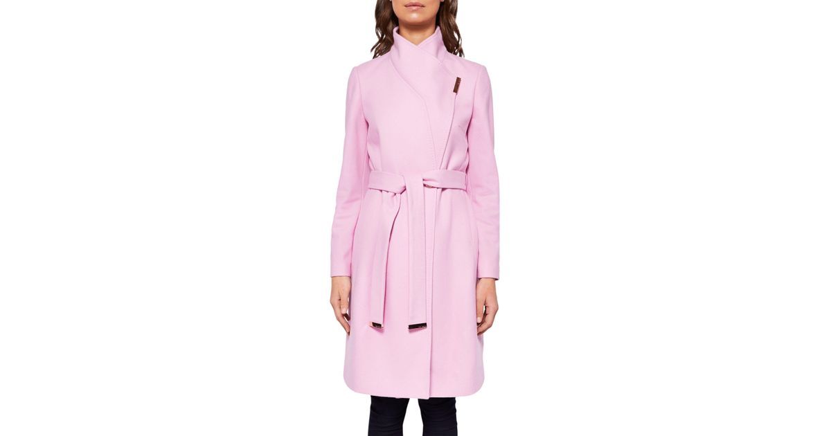 847d3e40d Ted Baker Kikiie Wrap Front Coat in Pink - Lyst