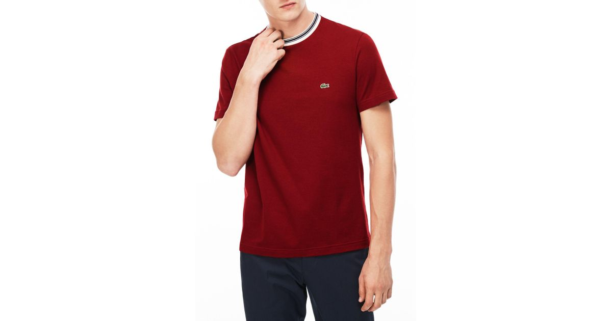 401fe4e0 Lacoste Twin Tipped Crew Neck T-shirt in Red for Men - Lyst