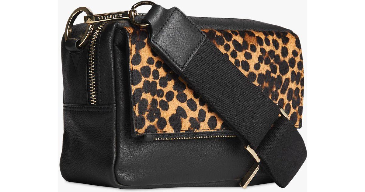 c53b7ed8c3d5 Whistles Bibi Leather Leopard Print Cross Body Bag in Black - Lyst