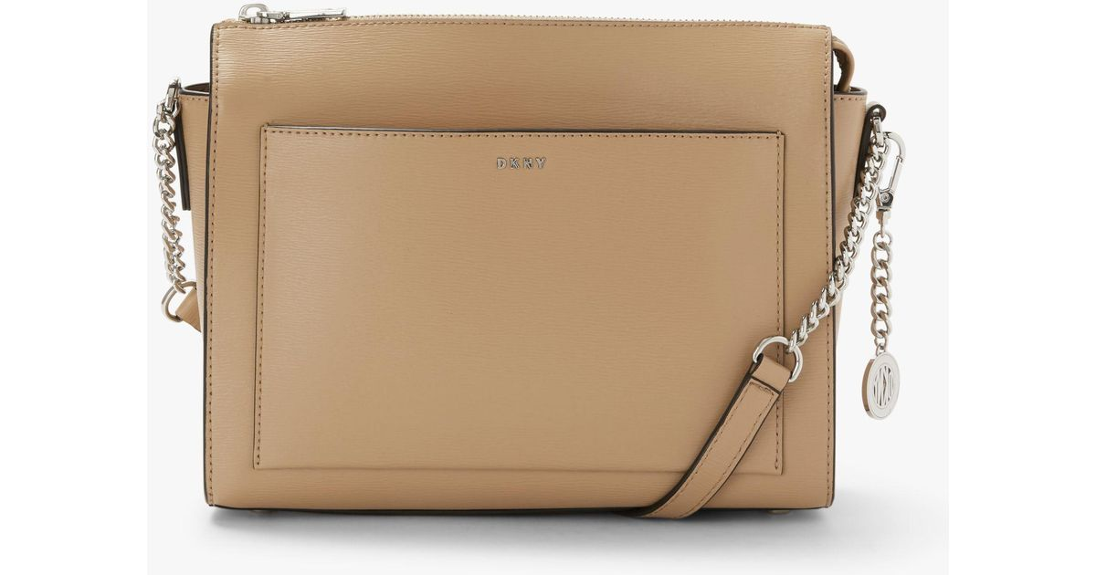 16562dc2f DKNY Bryant Sutton Medium Leather Zip Top Cross Body Bag in Natural - Lyst