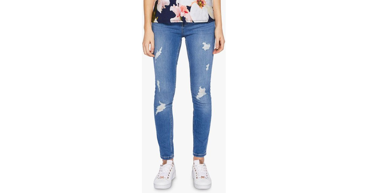 3c682ed2b0d638 Ted Baker Abrasion Skinny Jeans in Blue - Lyst