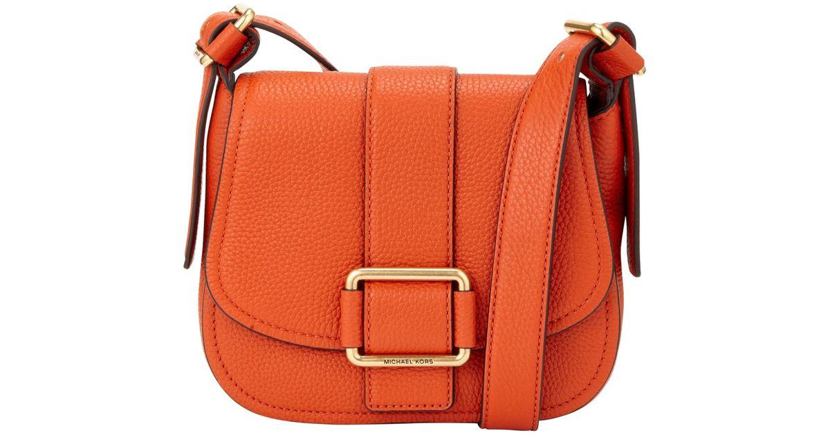 0d2962eb8b05 MICHAEL Michael Kors Maxine Medium Leather Across Body Bag in Orange - Lyst