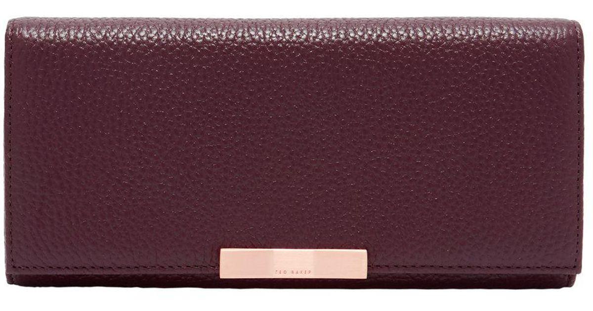 654d64c1202f1 Ted Baker Devyn Leather Foldover Purse in Purple - Lyst