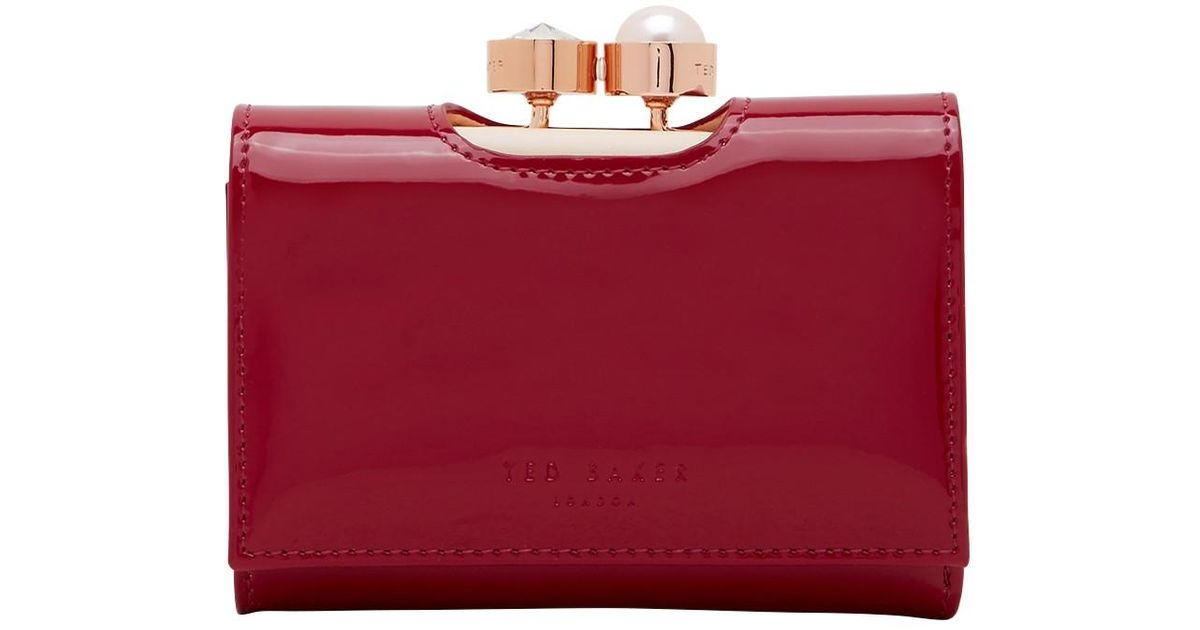 3dad4a842aa6e9 Ted Baker Alix Leather Patent Purse in Red - Lyst