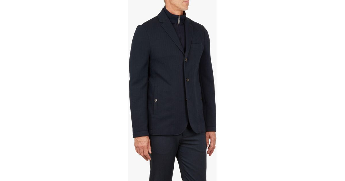 a94e2170d706db Ted Baker T For Tall Toastie Herringbone Jersey Jacket in Blue for Men -  Lyst