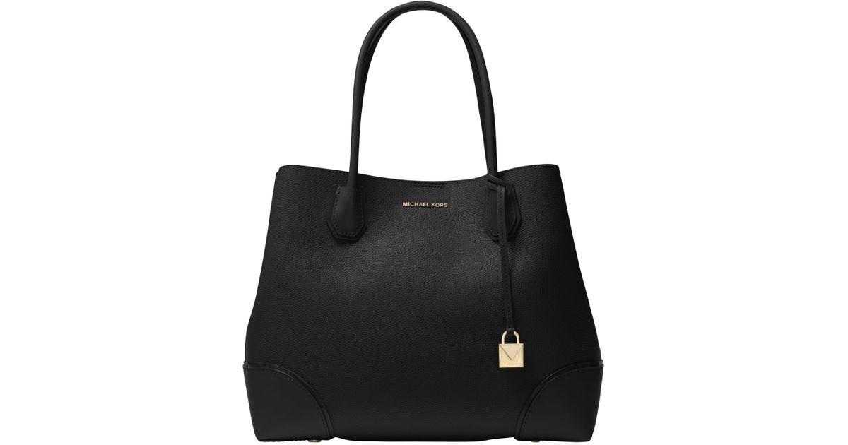 fba947e53bdab5 Michael Kors Michael Mercer Gallery Large Leather Tote Bag in Black - Lyst
