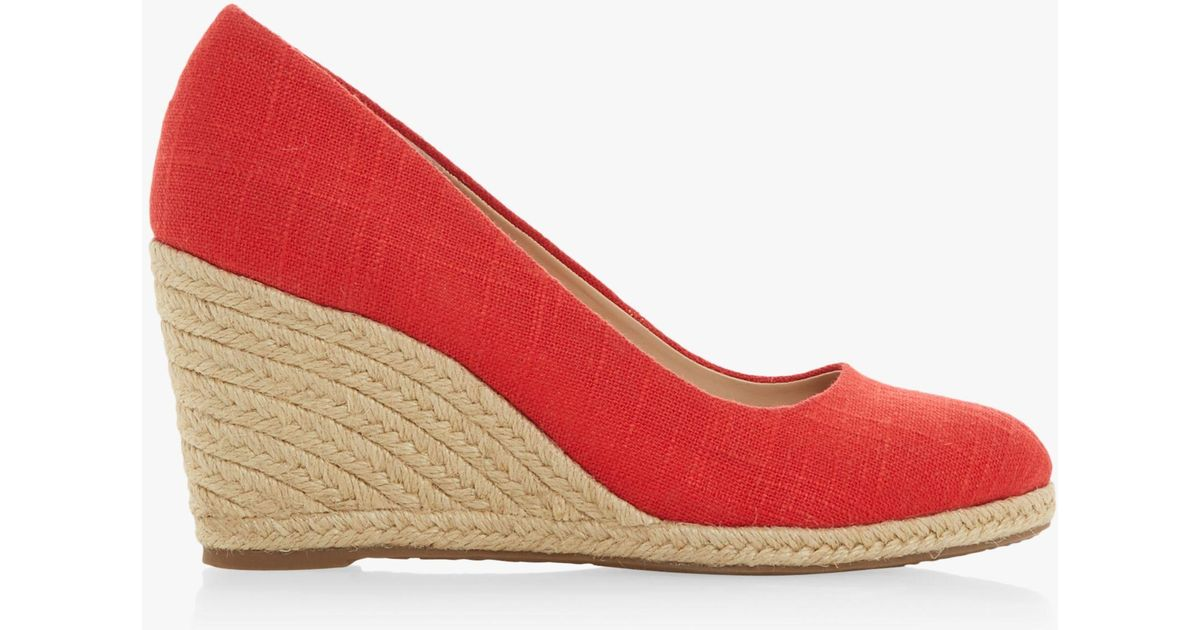 ac141428e2f17 Dune Red  annabella  High Wedge Heel Espadrilles Court Shoes in Red - Lyst