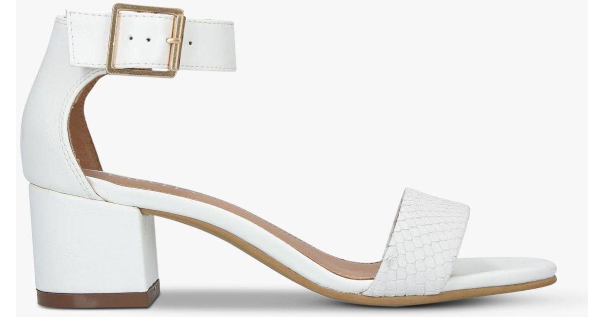 4ee97a77650 Carvela Kurt Geiger Shadow Leather Block Heel Sandals in White - Lyst