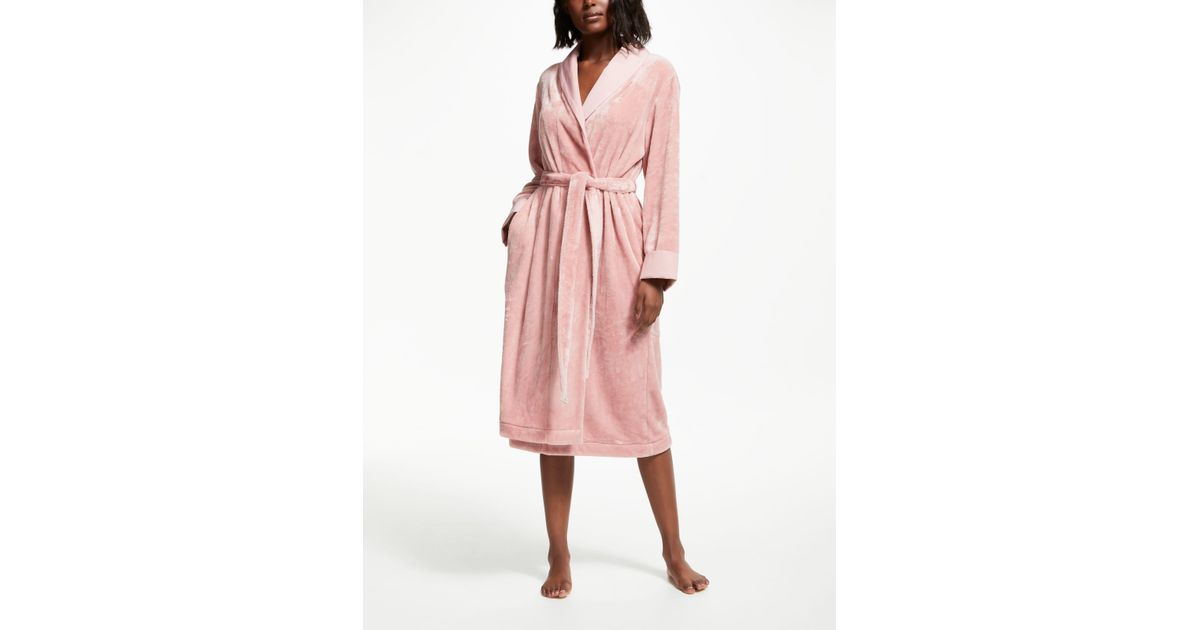 da41439e49 John Lewis Fleece Satin Trim Dressing Gown in Pink - Lyst