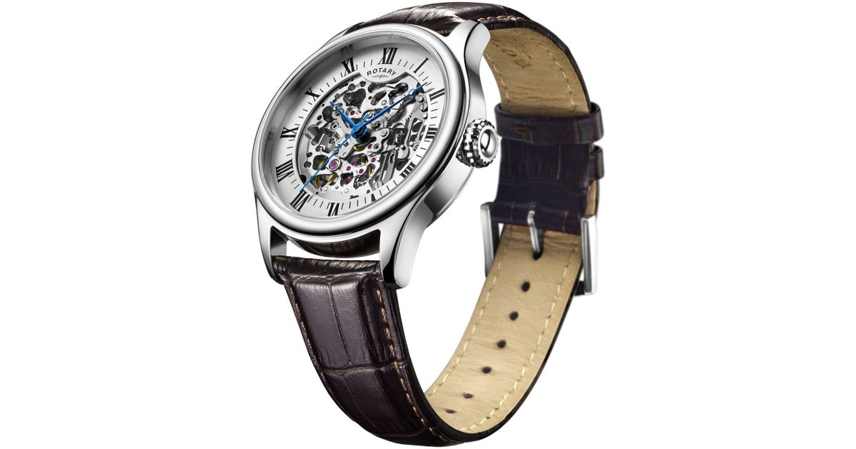 e1e5d9118862 John Lewis Rotary Gs02940 06 Men s Skeleton Leather Strap Watch in Black  for Men - Lyst