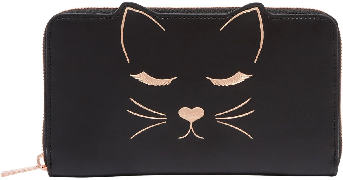 e59fba6b464 Ted Baker Tammy Leather Cat Zipped Matinee Purse in Black - Lyst