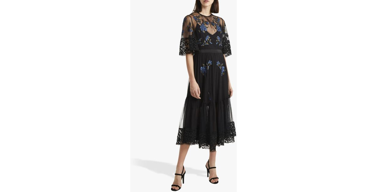 bf07ffbcabc French Connection Ambre Embroidered Lace Floral Dress in Black - Lyst