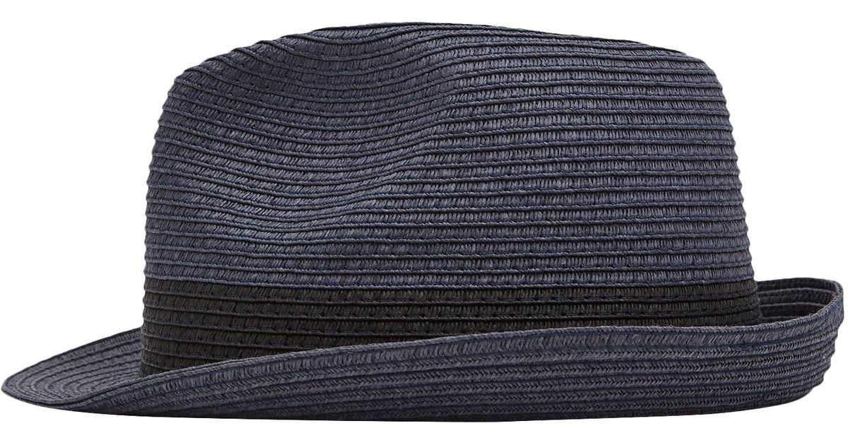4a085b3698bcb Reiss Thomas Woven Trilby Hat in Blue for Men - Lyst