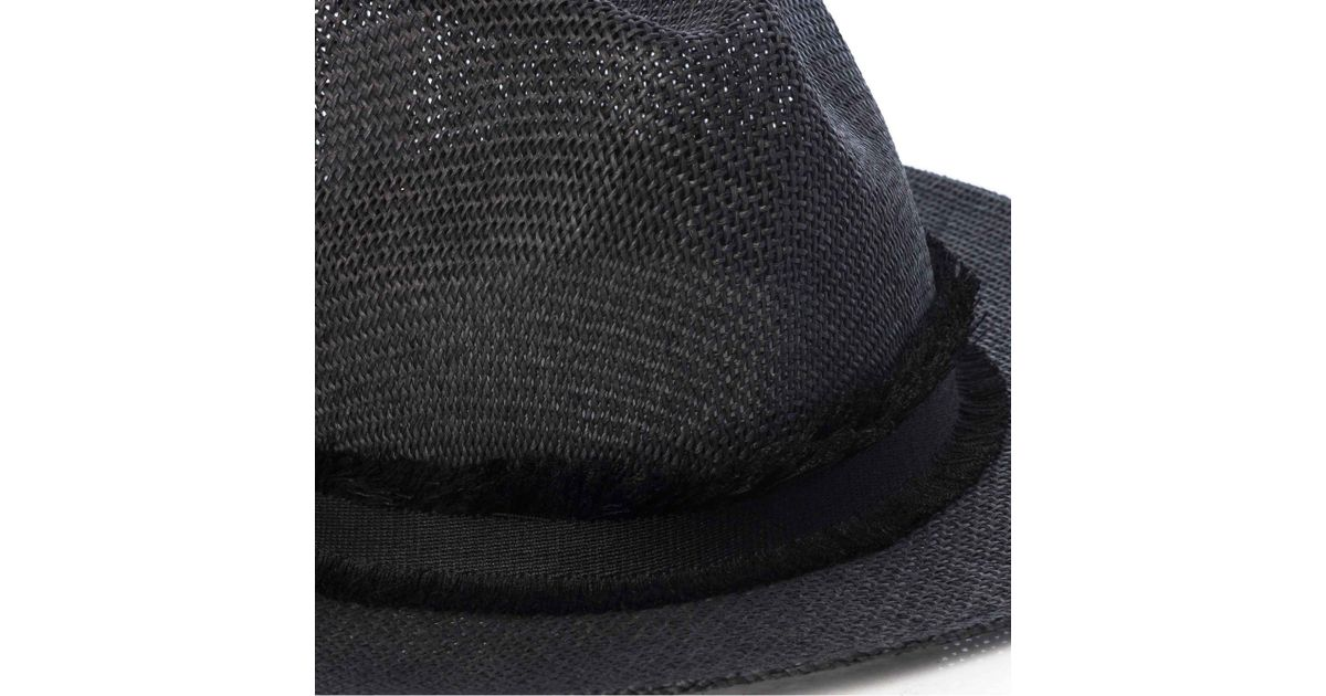 a385ac561f9eb French Connection Riley Frayed Straw Fedora Hat in Black - Lyst