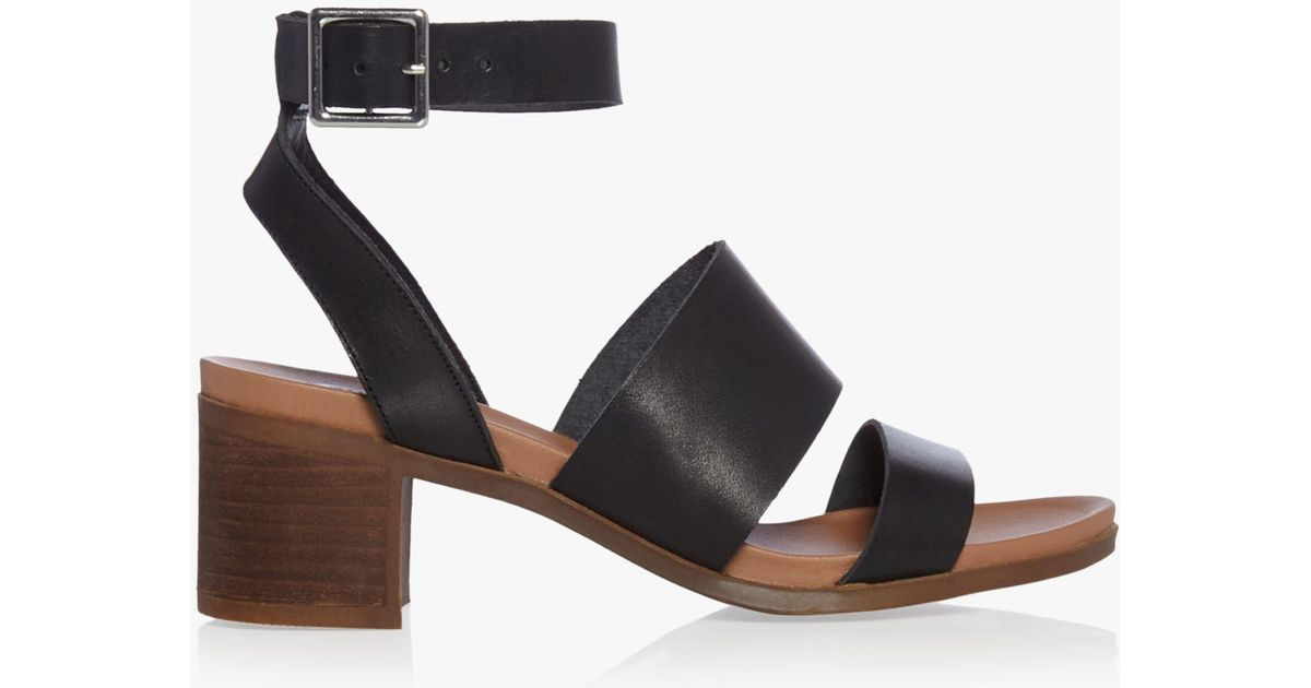 89bc83525ad Steve Madden Alex Double Strap Block Heeled Sandals in Black - Lyst
