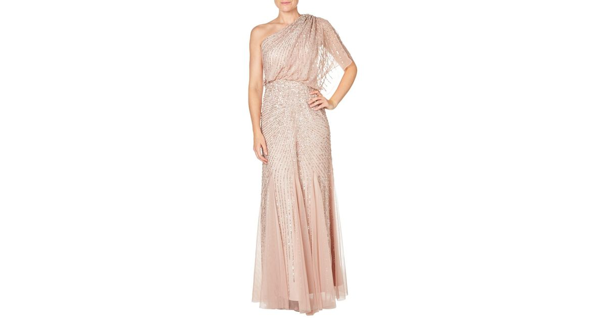 Adrianna Papell One Shoulder Beaded Blouson Gown in Pink - Lyst