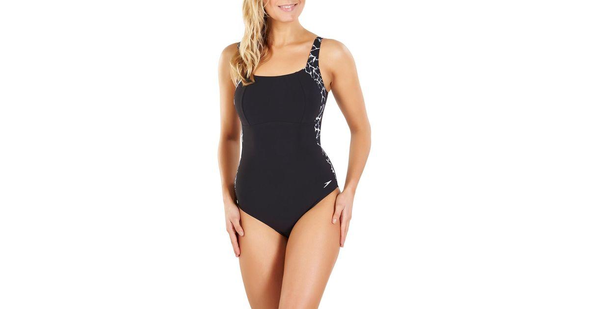 ef485f5c313 Speedo Sculpture Lunalustre Printed Swimsuit in Black - Lyst