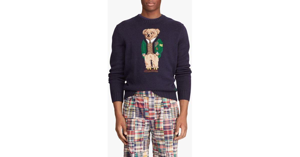 ee8e9e91677 Ralph Lauren Polo University Bear Sweater in Blue for Men - Lyst