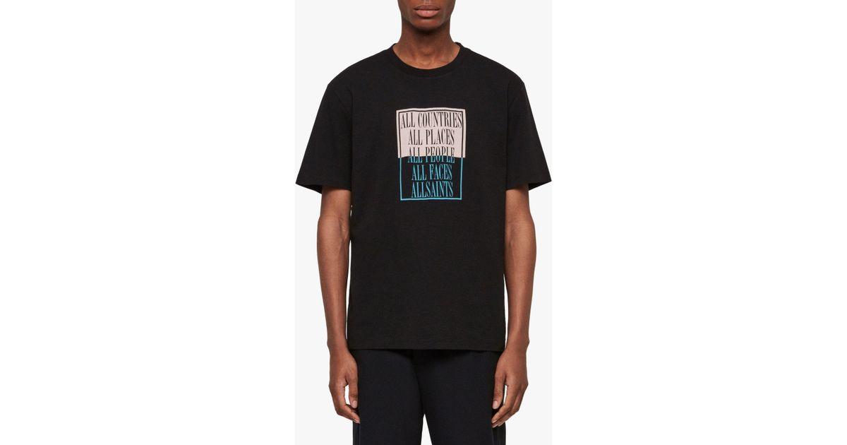e124b0c7d AllSaints Embrace Graphic Crew T-shirt in Black for Men - Lyst