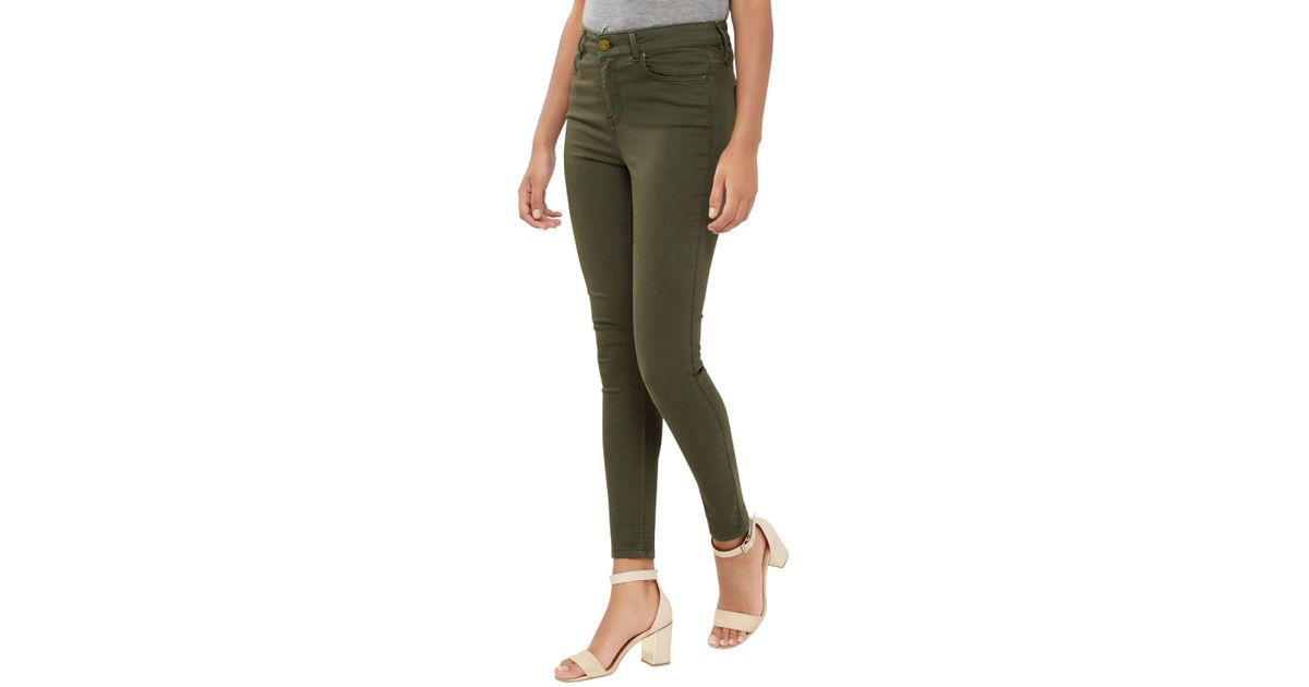 8e0539183262 Oasis Lily High Waisted Ankle Grazer Jeans in Green - Lyst
