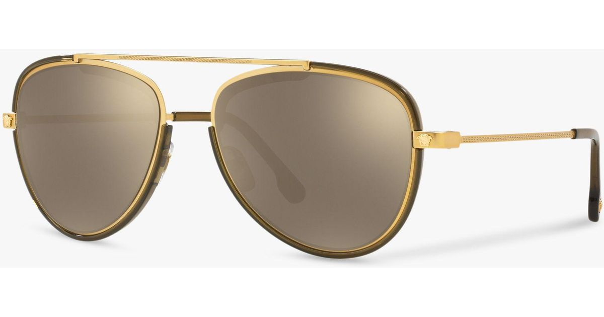 eaa8eeb13d8e Versace Ve2193 Men s Aviator Sunglasses in Metallic for Men - Lyst