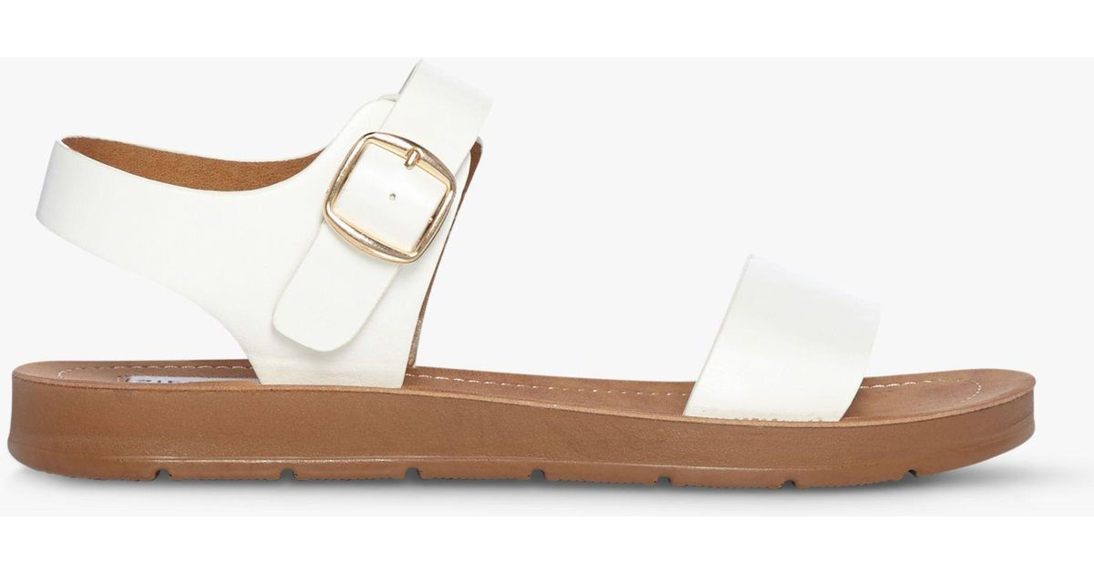 a9342be0d5a Steve Madden Probable Two Part Flat Sandals in White - Lyst