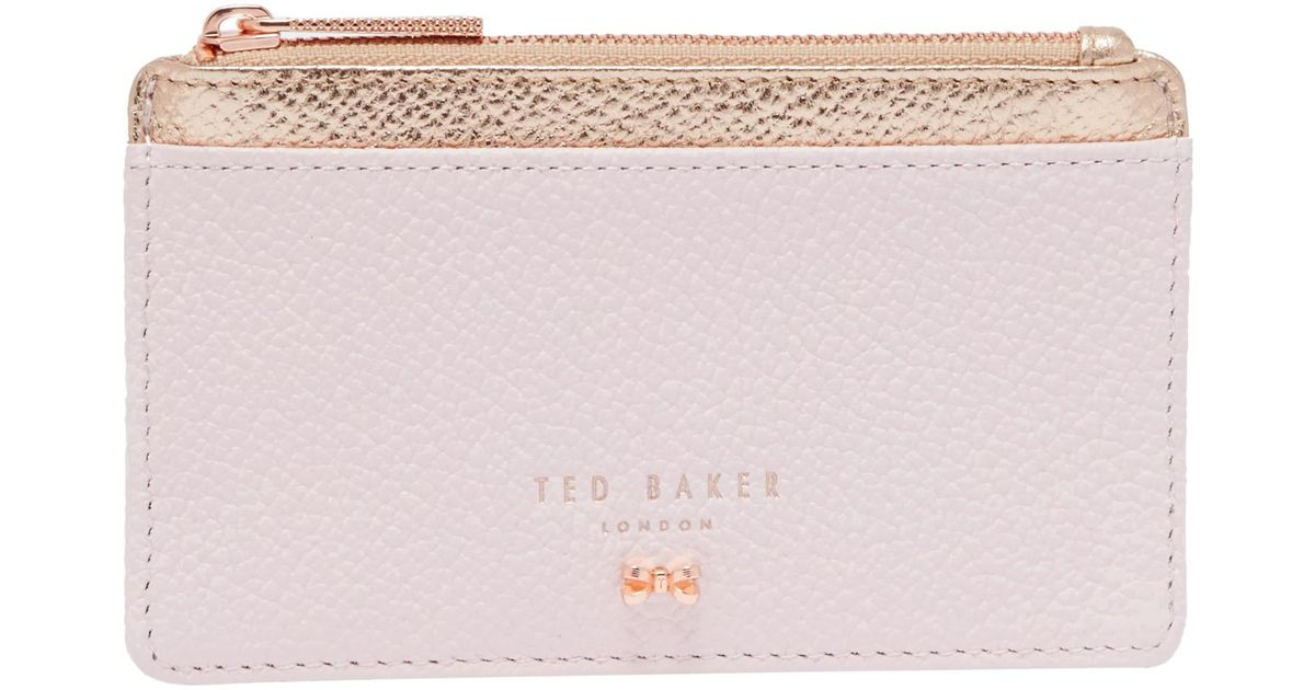 f4e1b74e3b4d9 Ted Baker Alica Leather Zipped Card Holder in Pink - Lyst