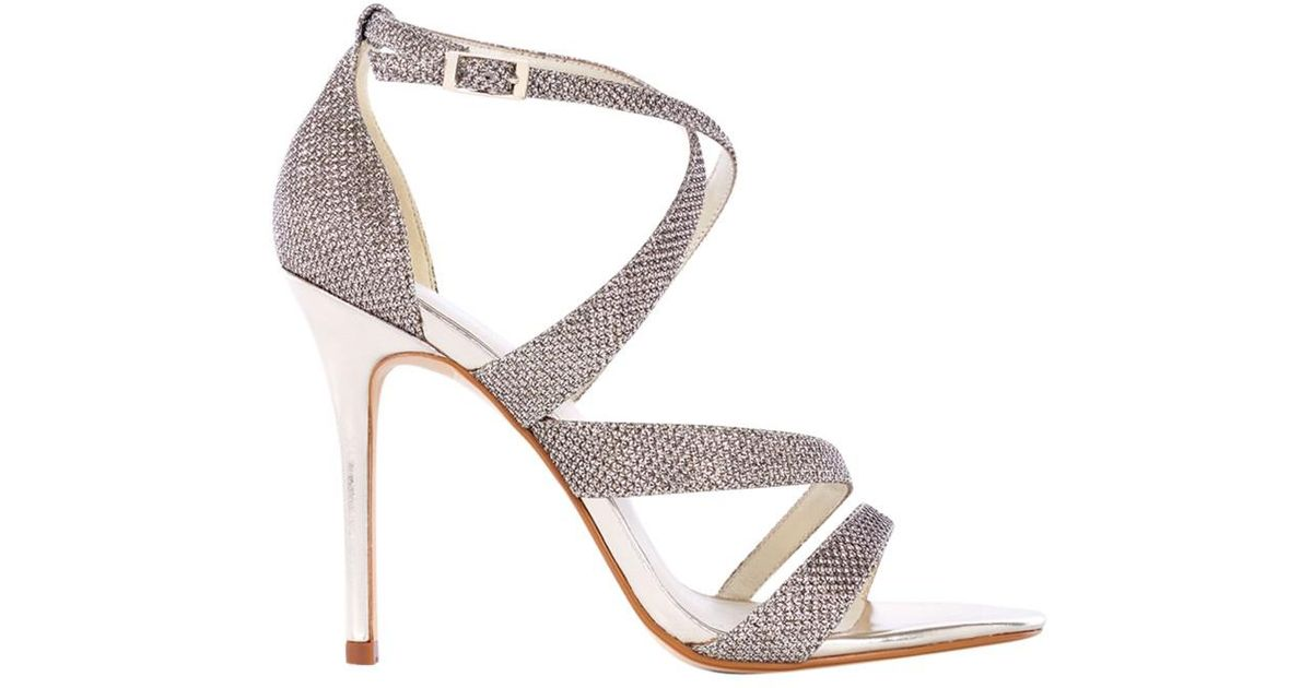 b6a9f80472 Karen Millen Glitter Collection Stiletto Sandals in Metallic - Lyst