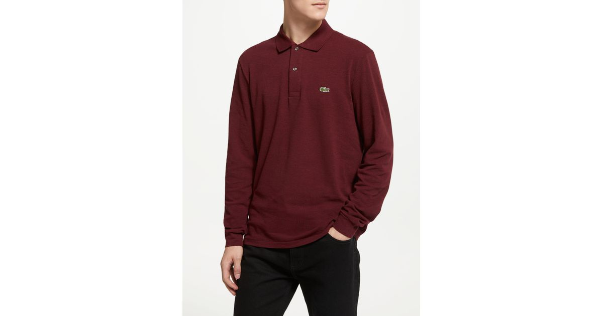 94c6849c9e751c Lacoste Long Sleeve Marl Polo Shirt in Red for Men - Lyst