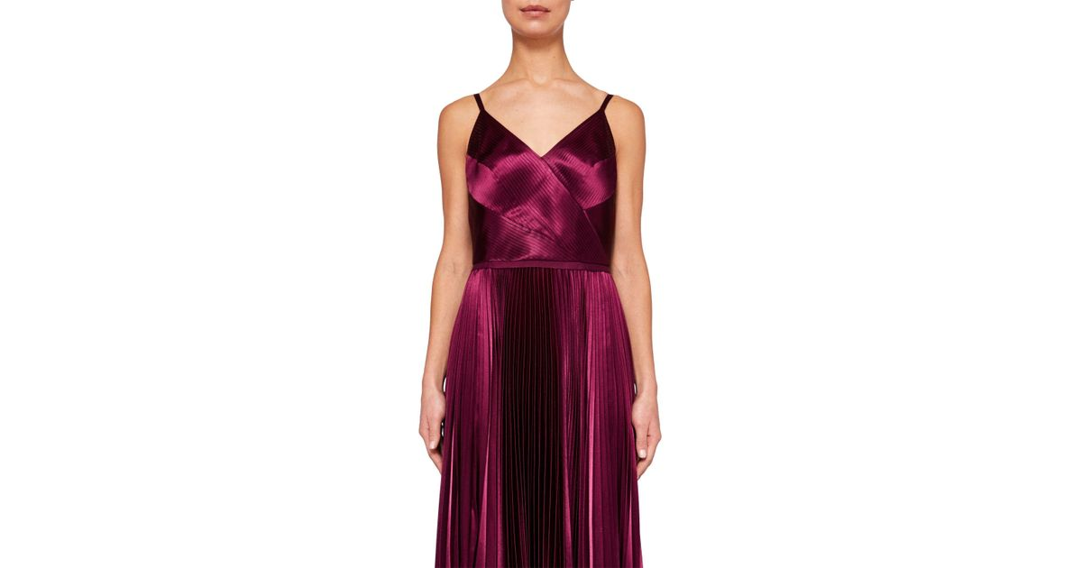 3364800fcdc8 Ted Baker Pleat Satin Maxi Dress in Purple - Lyst
