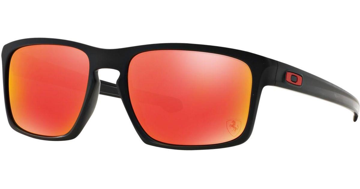5e0ed8cb2b0 Oakley Oo9262 Sliver Scuderia Ferrari Collection Rectangular Sunglasses in  Black - Lyst