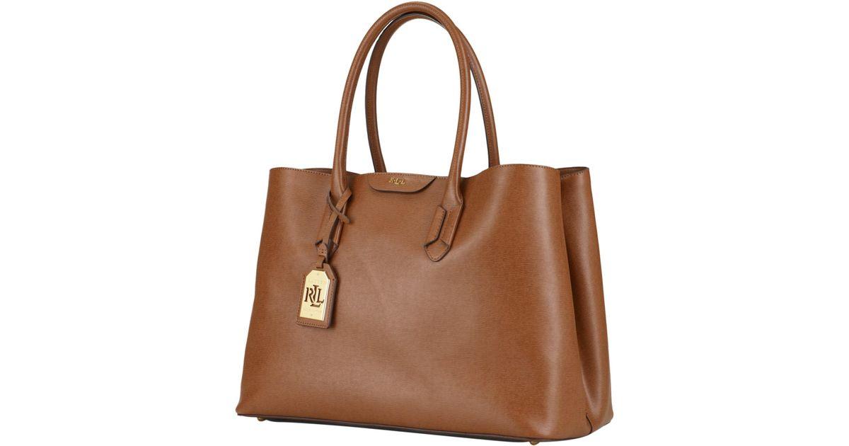 ... get ralph lauren lauren city tote bag in brown lyst 48456 6bf33 ... cea050914213b