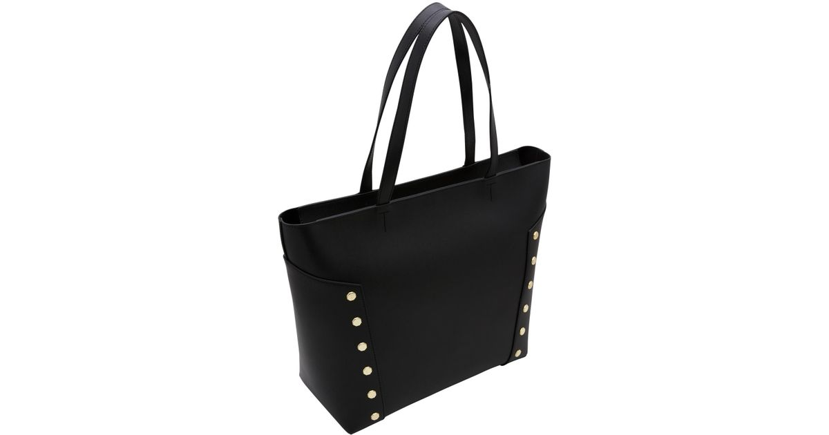 51fa0f09d Ted Baker Tamiko Stud Edge Leather Shopper Bag in Black - Lyst