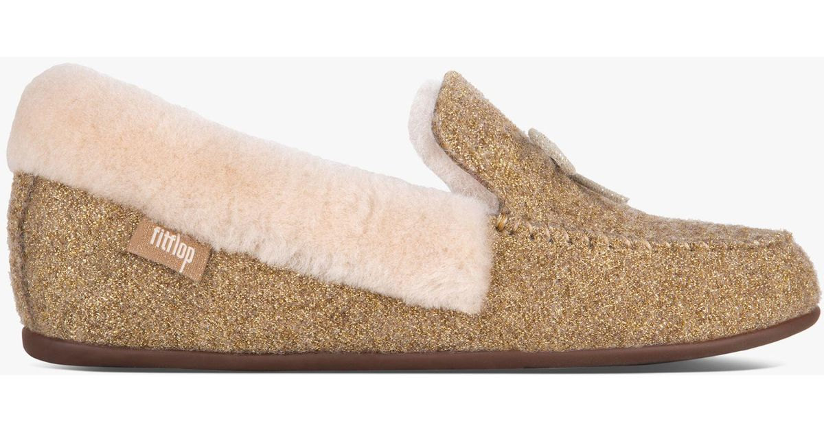 b4d4ef9019afe4 Fitflop Clara Moccasin Slippers in Metallic - Save 40% - Lyst
