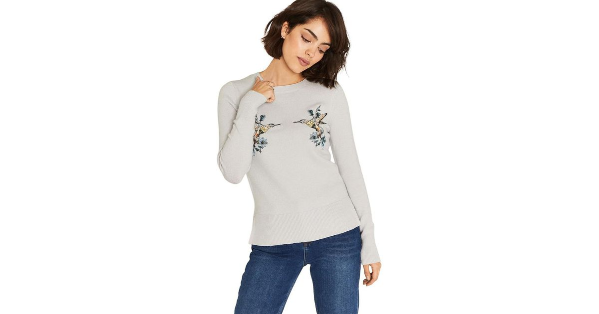 c23f0e8387eb Oasis Illustrator Embroidered Kissing Birds Knit Jumper in Gray - Lyst