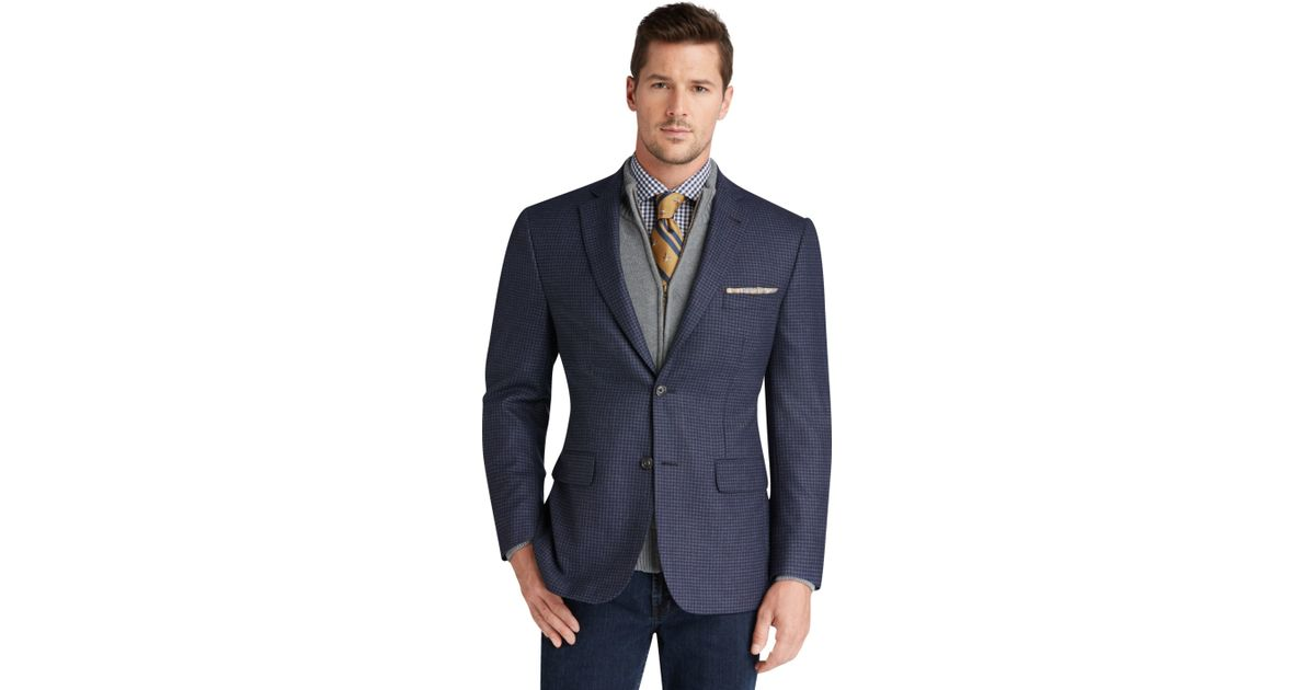 Lyst jos a bank 1905 collection slim fit check for Jos a bank slim fit vs tailored fit shirts