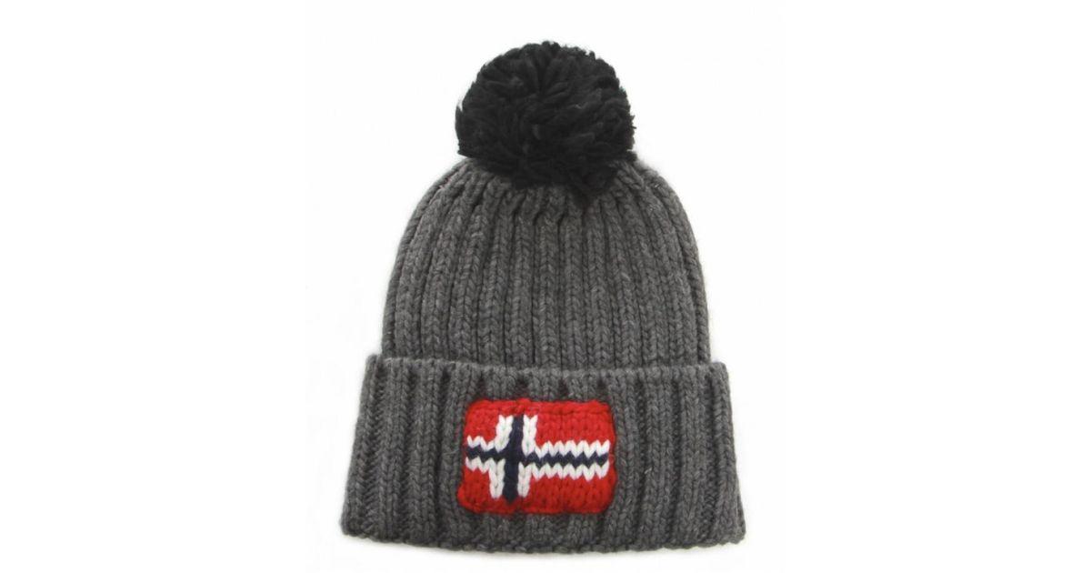 9a1620a56e2 Napapijri Semiury Bobble Hat in Gray for Men - Lyst