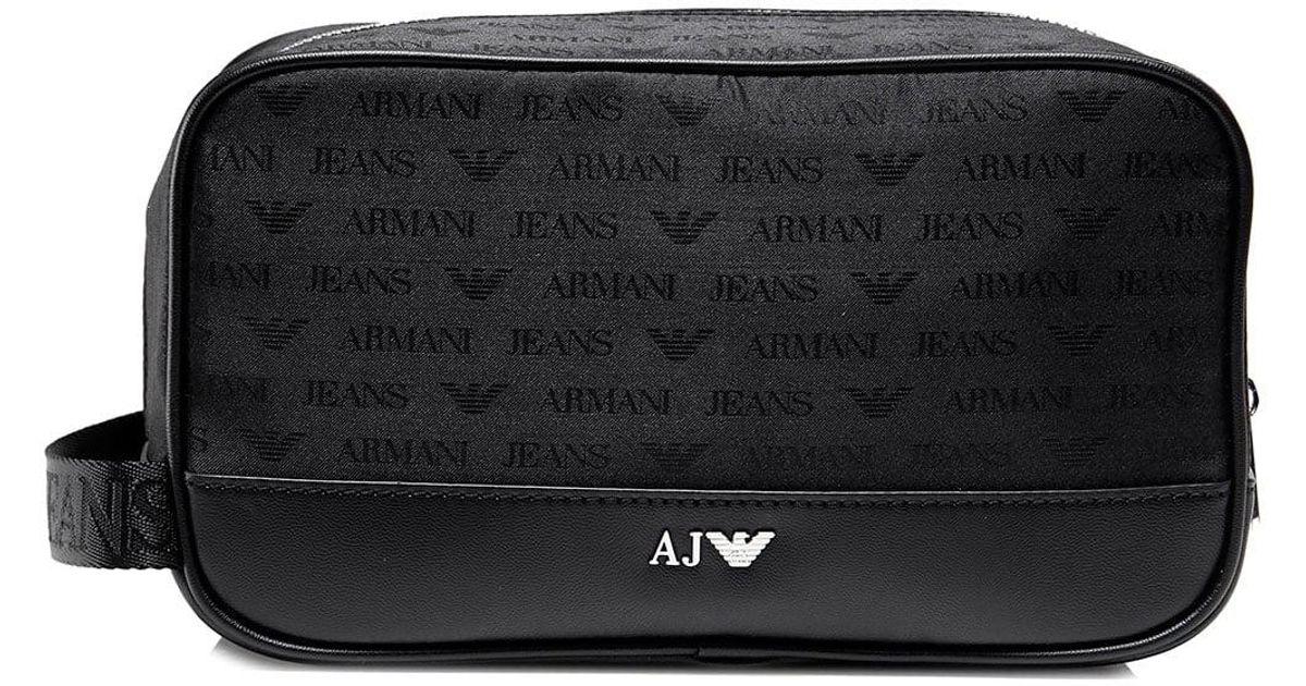 622cdd1737d3 Lyst - Armani Jeans Logo Wash Bag in Black