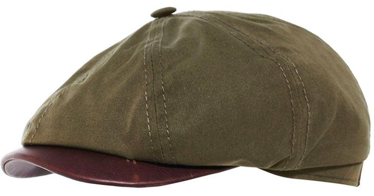Lyst - Stetson Waxed Cotton Hatteras Newsboy Cap in Green for Men 8968395741e