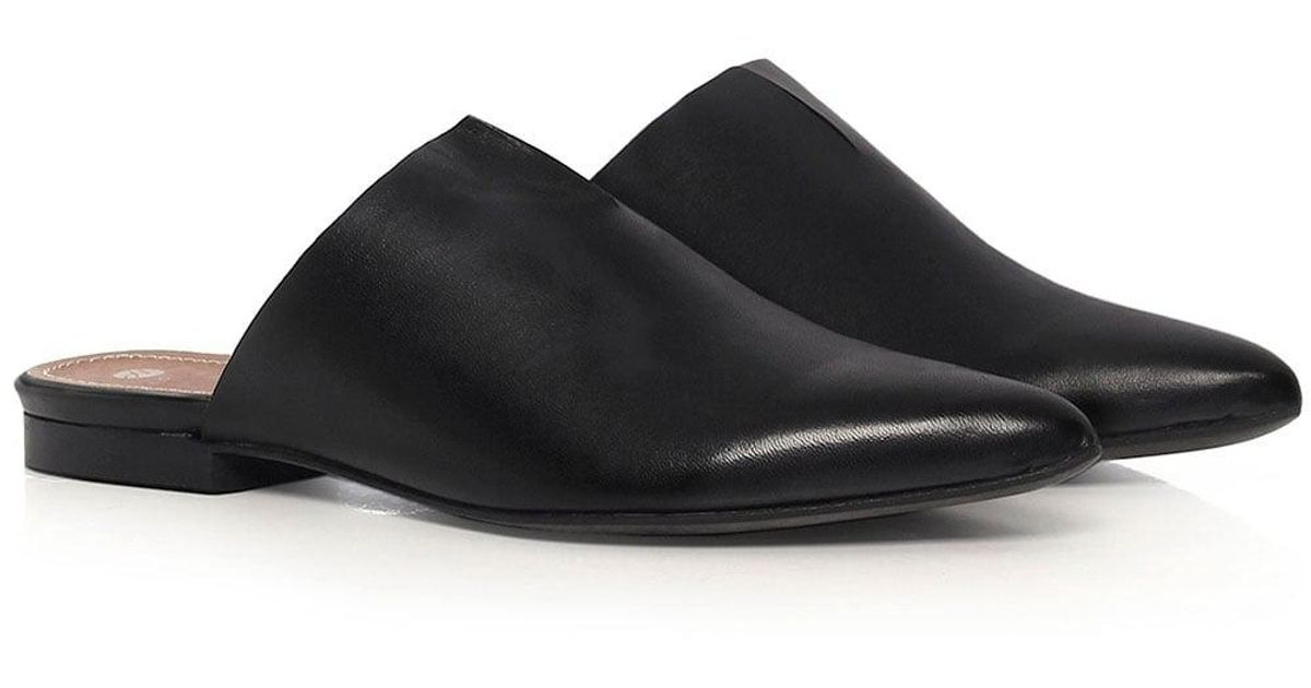 d71d8fce4d84e Lyst - H By Hudson Amelie Leather Slip On Flats in Black