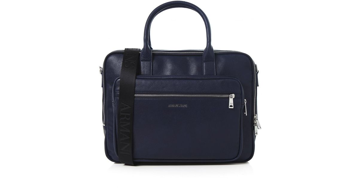 33f76dee543 Lyst - Armani Jeans Faux Leather Briefcase in Blue for Men
