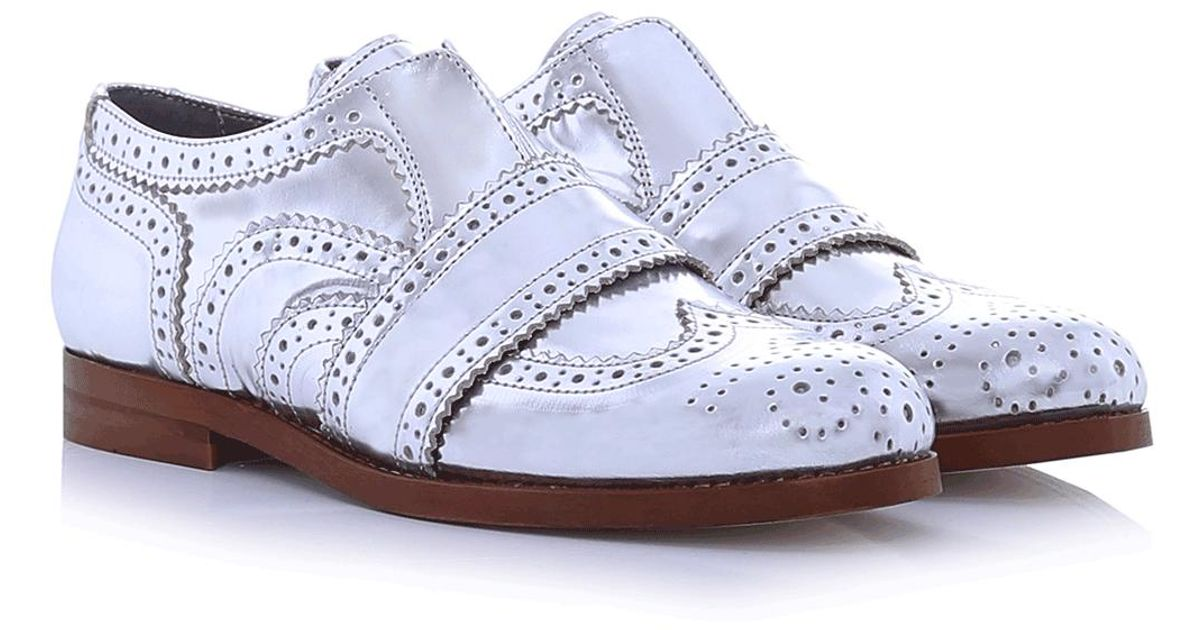 52b23b14f5 H by Hudson Maddie Leather Brogues in Metallic - Lyst