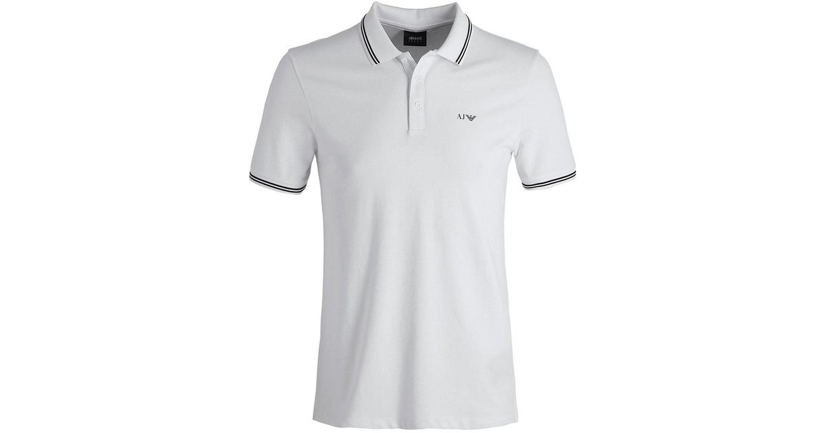 617335d8 Lyst - Armani Jeans Twin Tipped Polo Shirt in White for Men