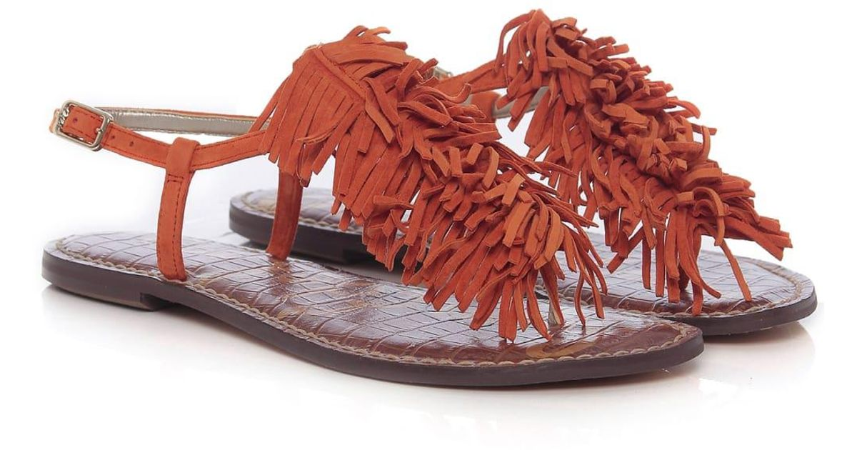 07d8a1b804f4 Sam Edelman Gela Fringe Sandals in Orange - Lyst