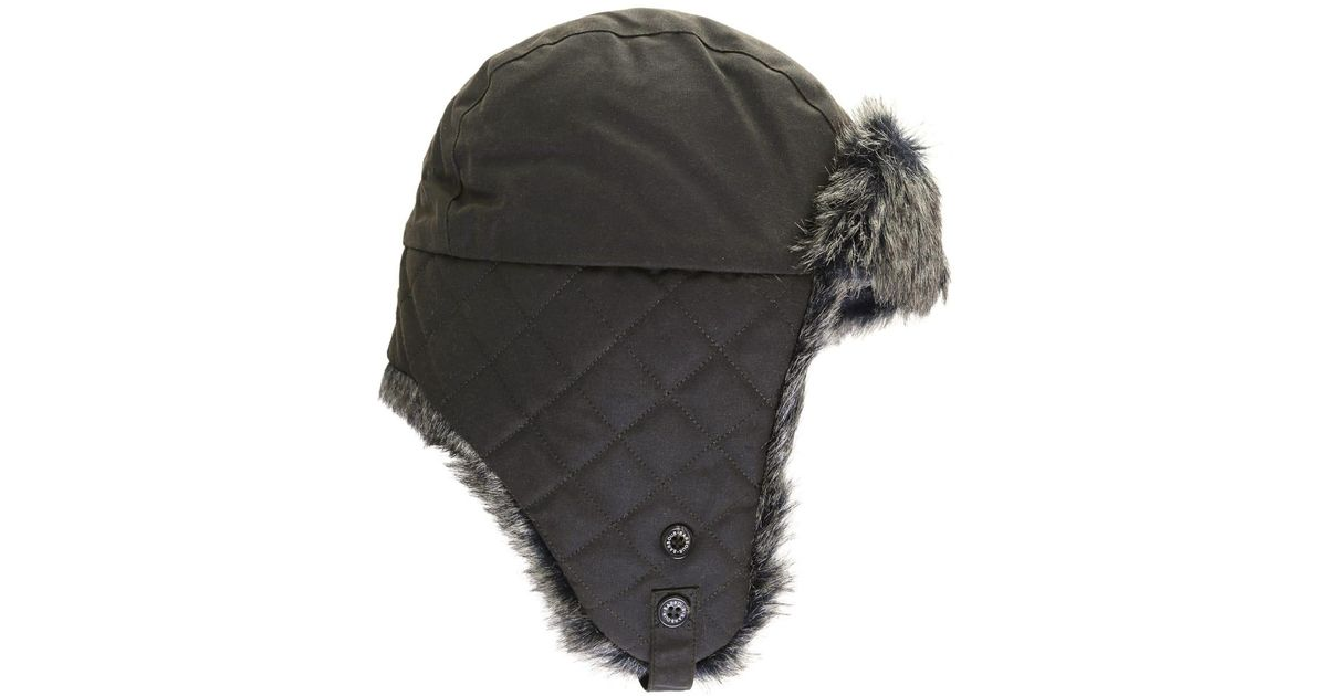 c9248f86a Barbour Wax Trapper Hat in White for Men - Lyst