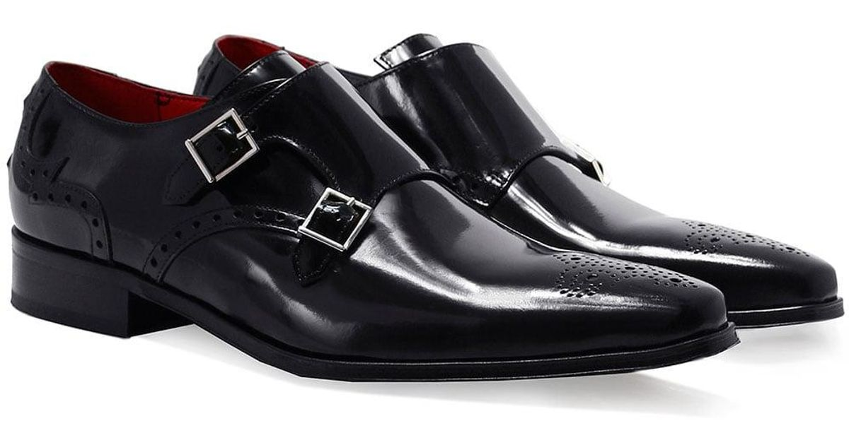 32a690e93284 Jeffery West Patent Leather Double Monk Strap Shoes in Black for Men - Lyst