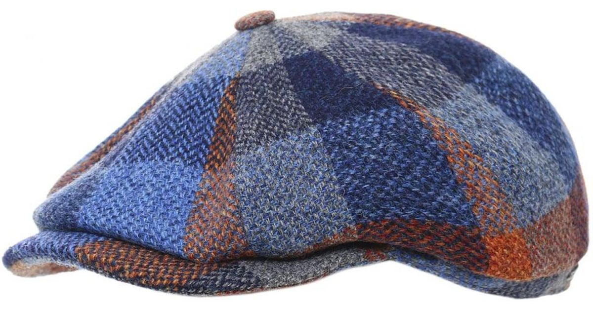 acc030b1595 Lyst - Stetson Lambswool Check Hatteras Cap in Blue for Men