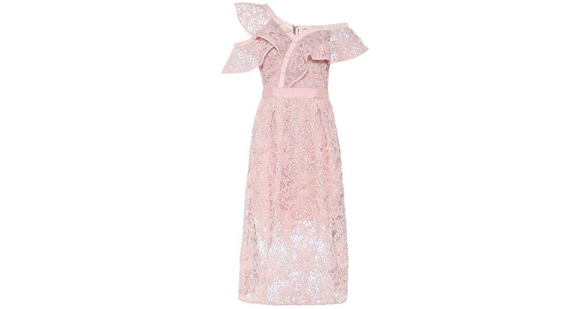 0808dd607679 Lyst - Self-Portrait Floral Mesh Lace Frill Midi Dress in Pink
