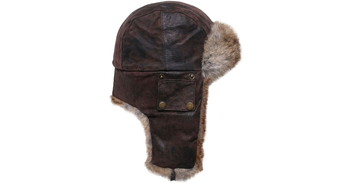 Stetson Leather Aviator Hat in Brown for Men - Lyst a20b8a35f05