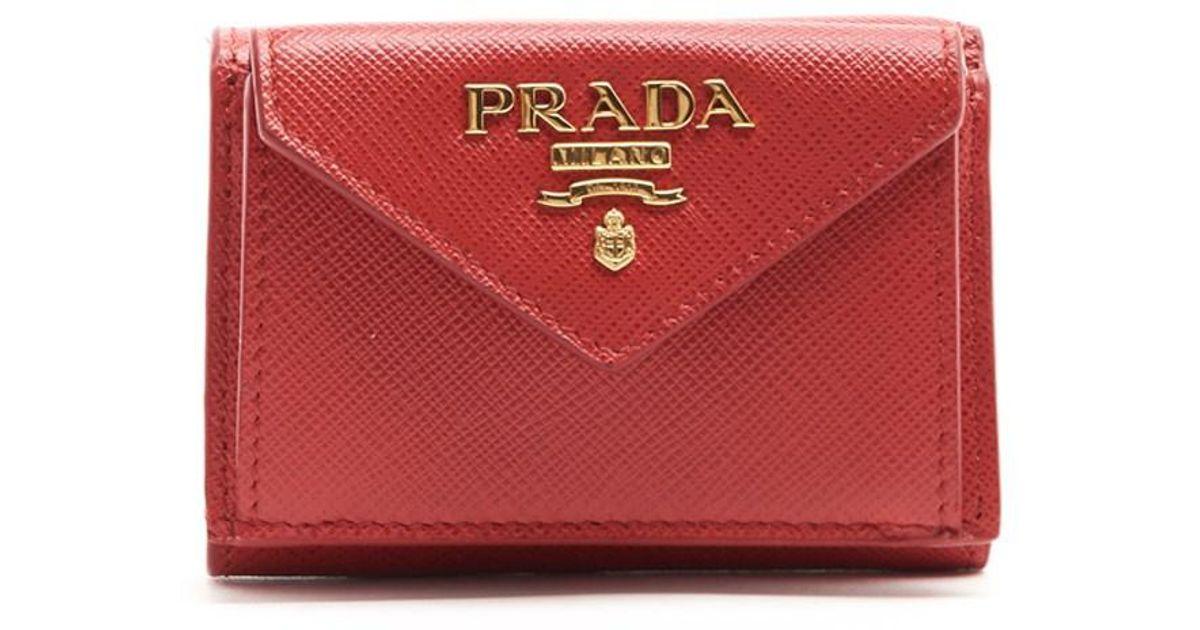 2b958771bb83 Lyst - Prada Logo Mini Wallet in Red